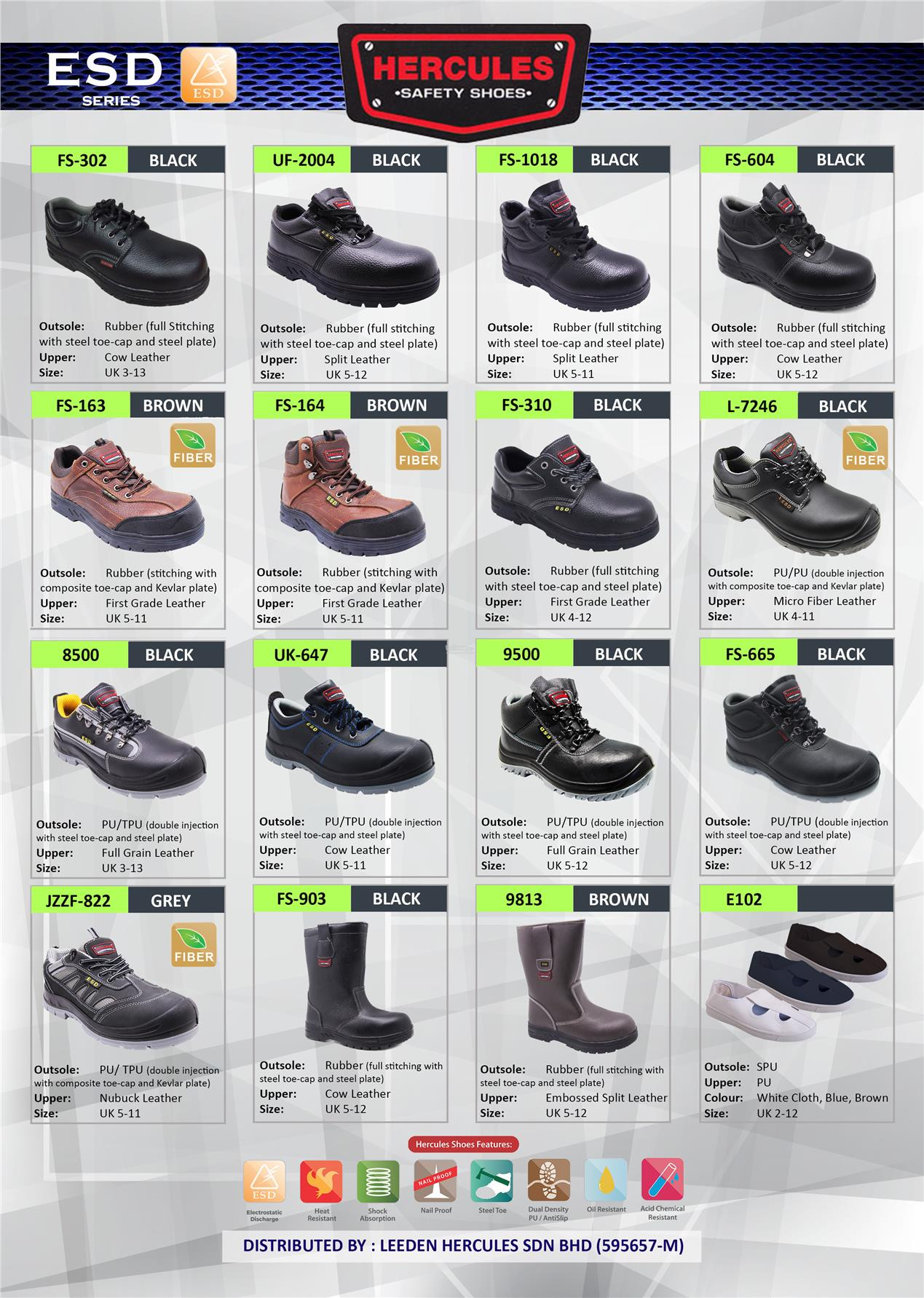 Hercules Safety Shoes Cow Leather Boot Shoes Sizes 3-12 SKU-2204