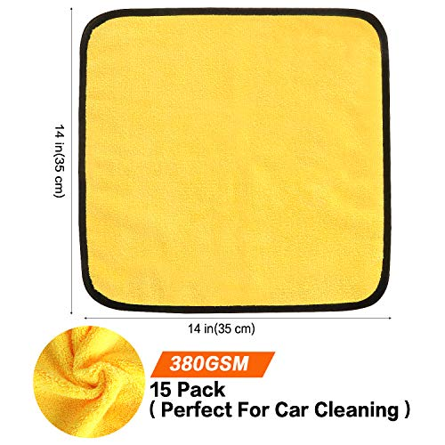 HERKKA Microfiber Cleaning Cloths, 15 Pack 14 x 14 inch Double-Side Plush  & S