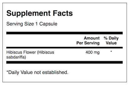 Hibiscus Flower 400mg, 60 Caps (Asthma, Diarrhea, Sleep, Inflammation)