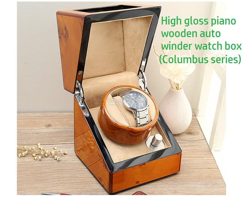 High Gloss Auto Rotate Watch Winder Box, Wooden Columbus Series