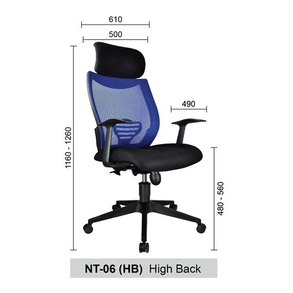 High Back Mesh Home & Office Chair (Netting Chair) - NT-06 (HB)