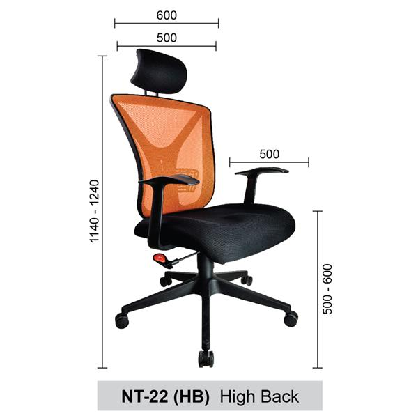 High Back Mesh Home & Office Chair (Netting Chair) - NT-22 (HB)