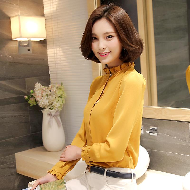 High Neck Blouse Long Sleeve Shirt Office Wear for Women (S-Plus Size)