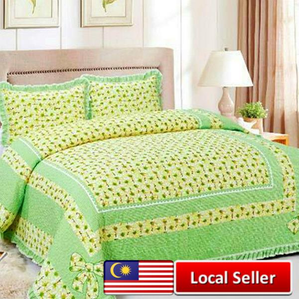 HIGH QUALITY BEDSHEET PATCHWORK QUEEN SET OF 3 GREEN SUNFLOWER WITH LACE  BORDE. U2039 U203a