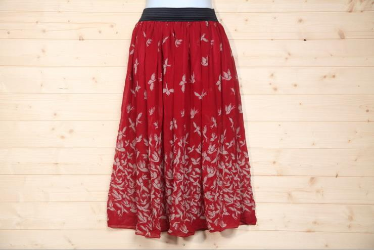 High Quality~ Bird Pattern Long Skirt (Red)