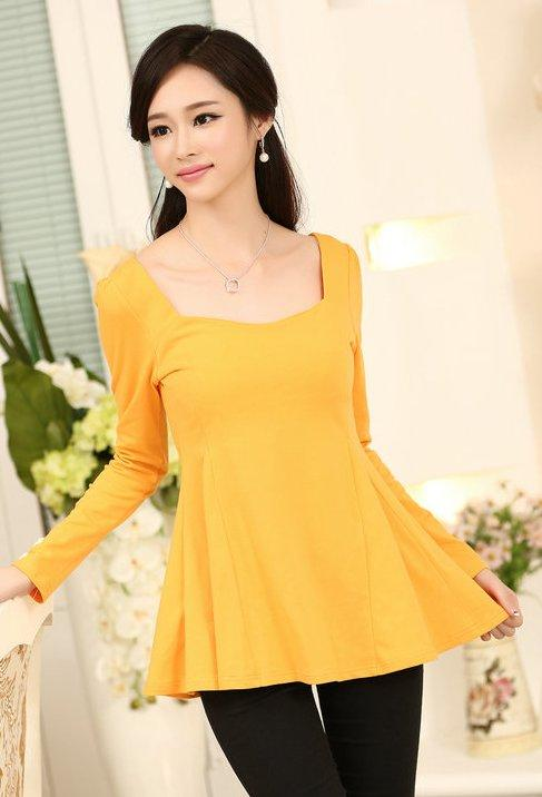 High Quality Elegant Long-Sleeve Peplum Blouse (Orange)