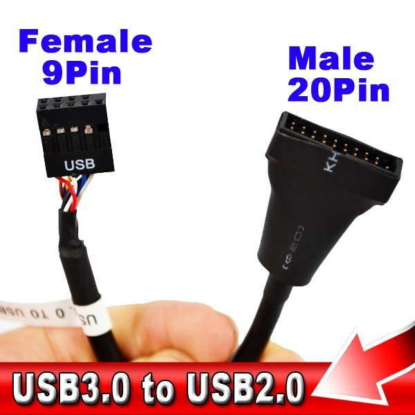 HIGH QUALITY ONBOARD USB 3.0 (20PIN) CONVERT TO USB 2.0 (9PIN) CABLE