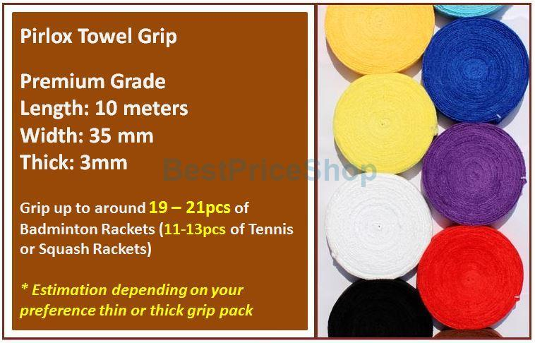 High Quality Pirlox Towel Grip 10m Big Roll Badminton Tennis Squash