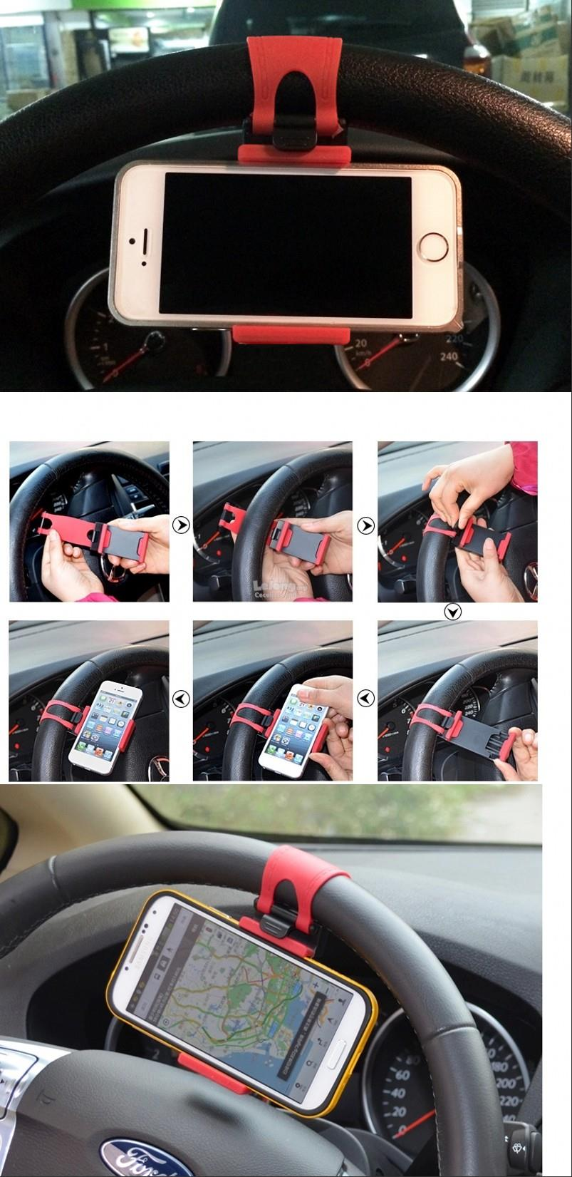 High Quality Silicon Car Steering Wheel Mobile Phone Socket Holder