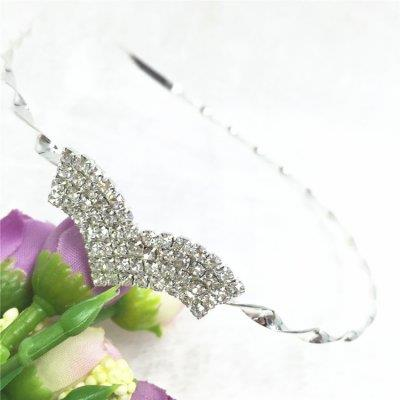 High Quality Silver Crystal Heart Shape Headband - HB049