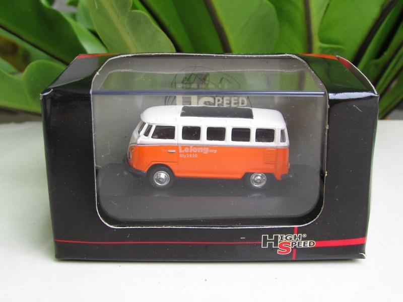 High Speed 1/87 Diecast Classic Volkswagen VW T1 Samba Bus(5cm)Orange