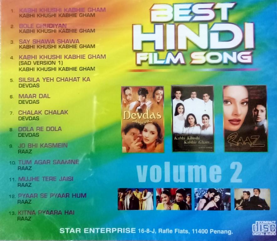 Best Hindi Film Song Vol 2 CD Devdas Kabhi Khushi Kabhie Gham Raaz