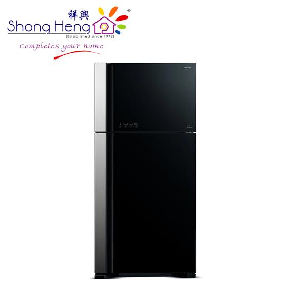 Hitachi 2 Doors Refrigerator 601L (Glass Black) R-VG710P3M