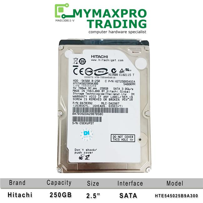 NEW Hitachi 250GB Sata 2.5' hard disk drive HDD 8MB HTE545025B9A300