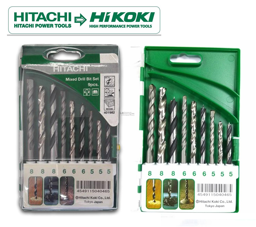 Hitachi 9pcs Metal/ Masonry/ Wood 5, 6, 8mm Mixed Drill Bit Set