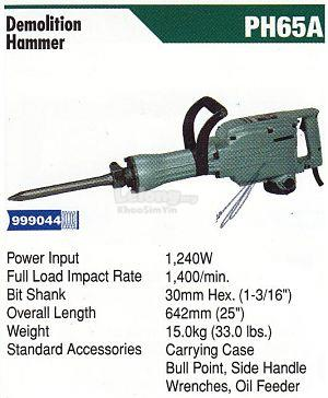 Hitachi Demolition Hammer 1240W PH-65A