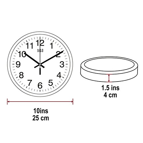 ..// hito Modern Silent Wall Clock Non Ticking 10 inch Excellent Accurate Swee