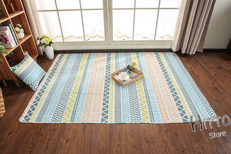 Hitto Japanese Style 100% Cotton Living Carpet Mat with Pillow case