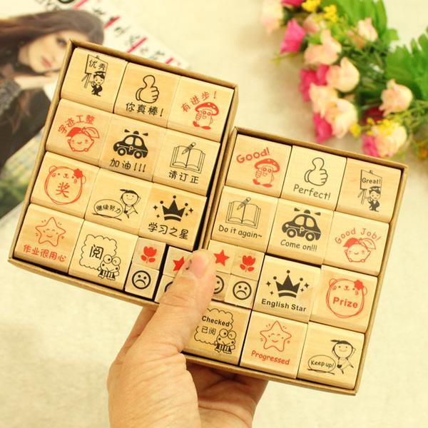 HO048 Teacher Stamp Set 15 Pcs English Mandarin