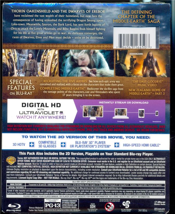 Hobbit The Battle Of Five Armies - New Blu-Ray 3D + Blu-Ray + DVD
