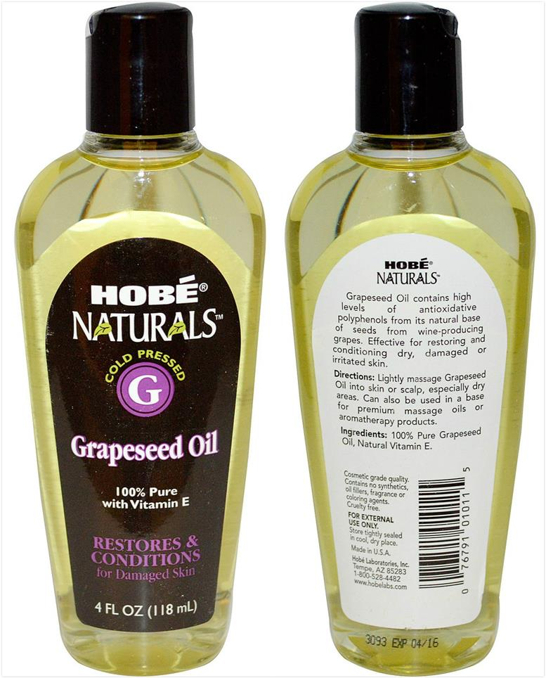 Hobe Labs, 100% Pure Grapeseed Oil with Vitamin E (118 ml)
