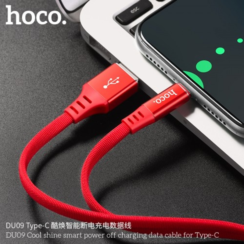 Hoco DU09 Cool Shine Smart Power Off Charging Data Cable For Type-C Original M
