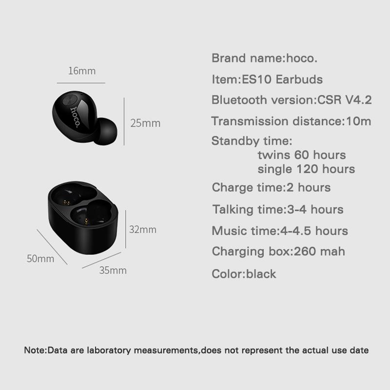 HOCO ES10 Smallest Wireless Bluetooth 4.2 Earphone EarBuds