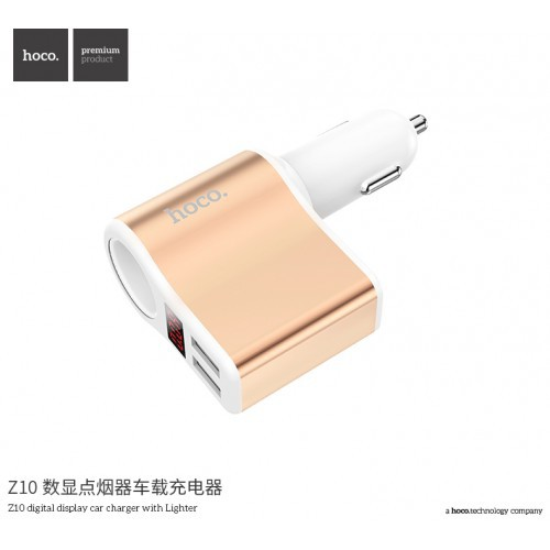 HOCO ORIGINAL Z10 Cigarette-Lighter Dual USB Car Charger with Digital Display