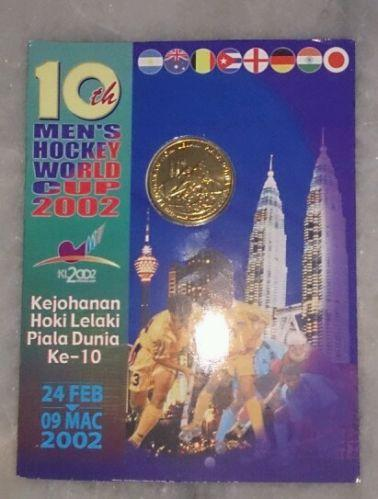 Hoki hockey World cup MALAYSIA 2002 BU Coin Card