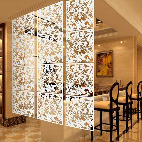 Hollow Modern Hang-style Folding Screen-4 pcs (White)