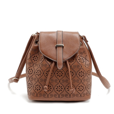 Hollow Out Solid Color Draw Crossbody Bag