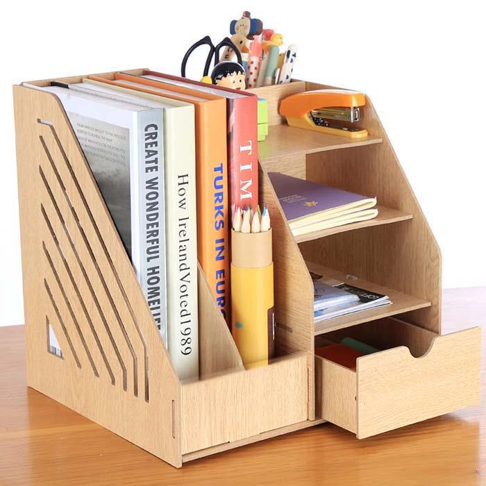 Home Office Storage Rack Organizer Wood Desktop Supplies