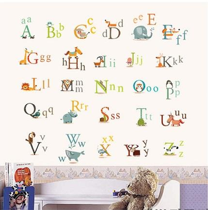 Homestay deco friendly decals unique design animals and english alphab