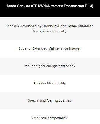 HONDA AUTOMATIC TRANSMISSION FLUID ATF DW-1 (1 LITRE)
