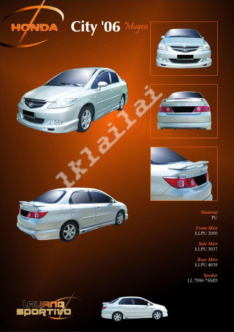 Honda City '06 Mugen Style Full Set Skirting + Spoiler PU Body Kit