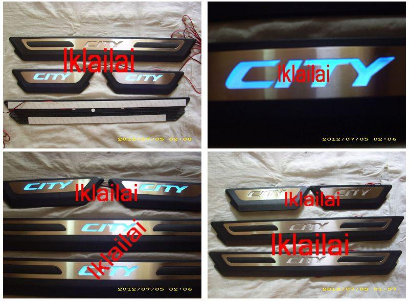 HONDA CITY '09 Door / Side Sill Plate With LED Light [4pcs/set] BLACK