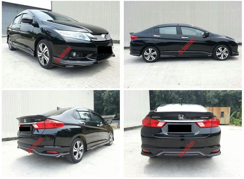 Honda City '14 Modulo Style Full Set Body Kit Painted Skirting+Spoiler