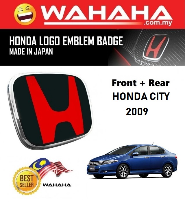 Honda City 2009 Front and Back Red Black H EMBLEM Badge Logo (1 Pair)