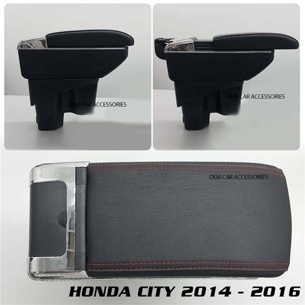 Honda City 2014 PVC Arm Rest Armrest Black Leather Red Stitching
