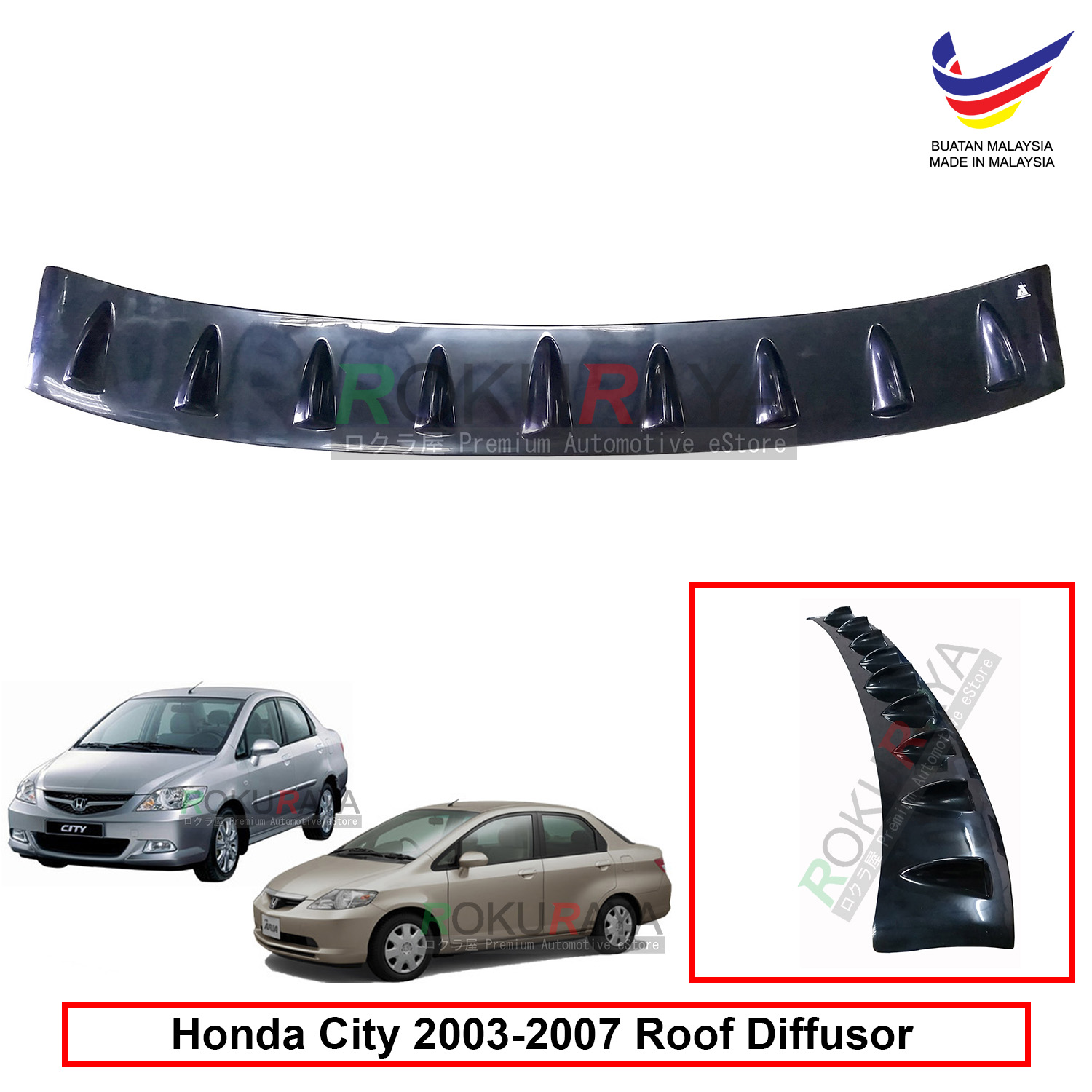 Honda City (4th Gen) 2002 Vortex Generator Shark Fin Roof Diffuser