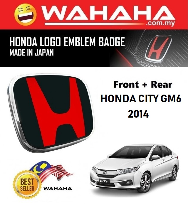 Honda City GM6 2014 Front and Back Red Black H EMBLEM Badge Logo