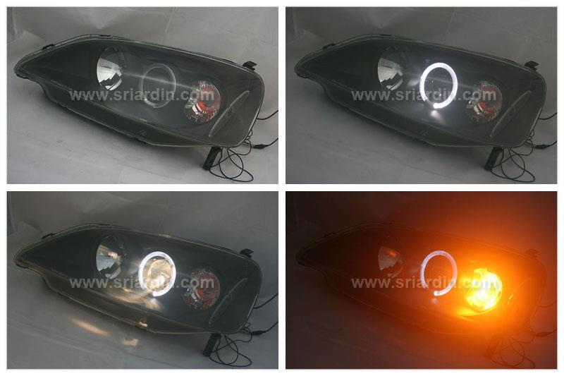 Honda Civic 01-03 Black Projector Headlamp with Ring