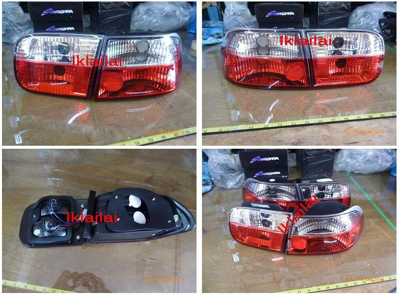 Honda Civic '92/SR/EG 4D/2D Tail Lamp Crystal Clear/Red [HD11-RL04-U]
