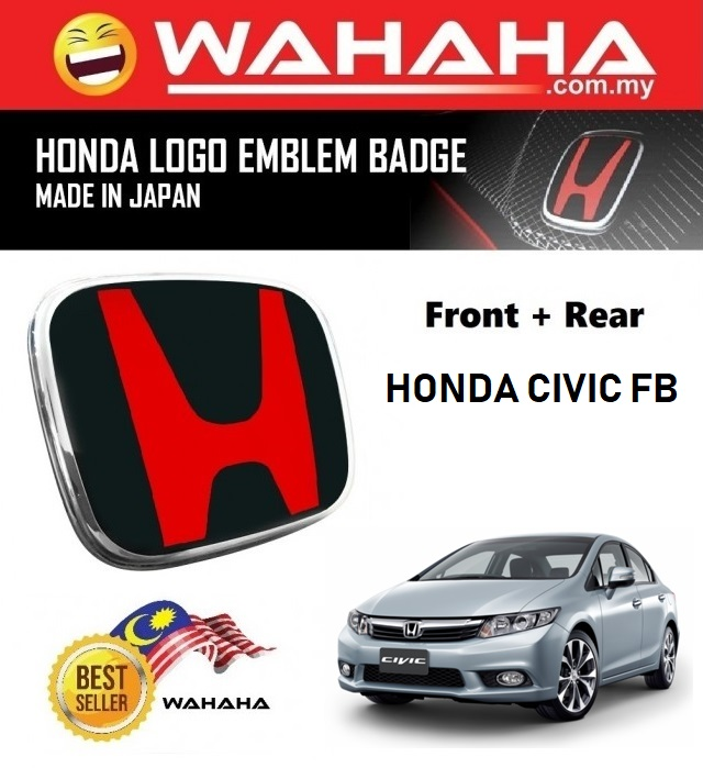 Honda Civic FB Front and Back Red Black H EMBLEM Badge Logo (1 Pair)