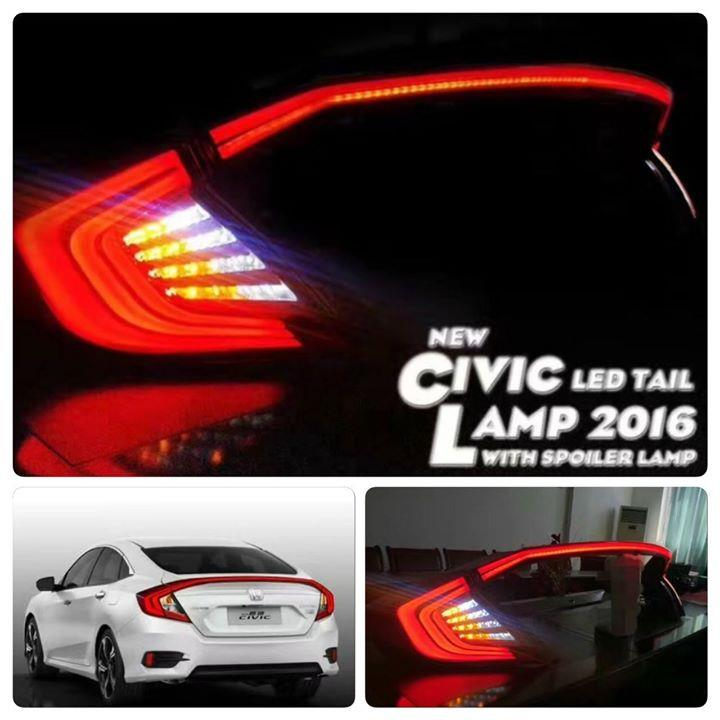 HONDA CIVIC FC '16-'17 LED Light Bar Tail Lamp + Spoiler Lamp [Smoke]