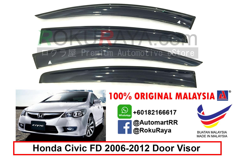 Honda Civic FD ( 8th Gen ) 2006 AG Door Visor (Big 12cm Width)