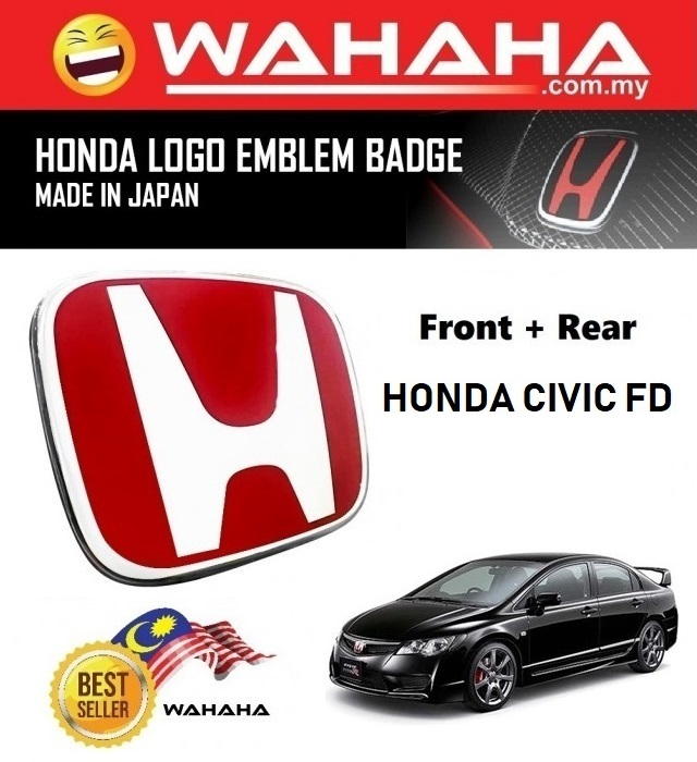 Honda Civic FD Front and Back Red H EMBLEM Badge Logo (1 Pair)
