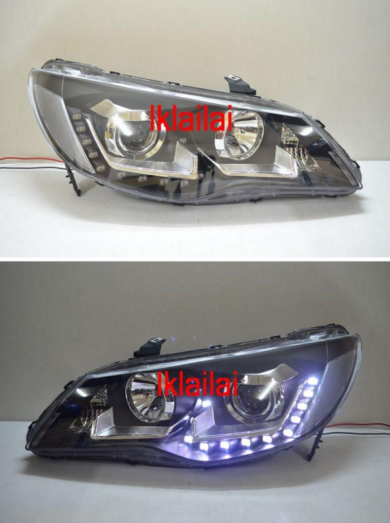 Honda Civic FD PROJECTOR HEAD LAMP [U Shape LED] [Black]
