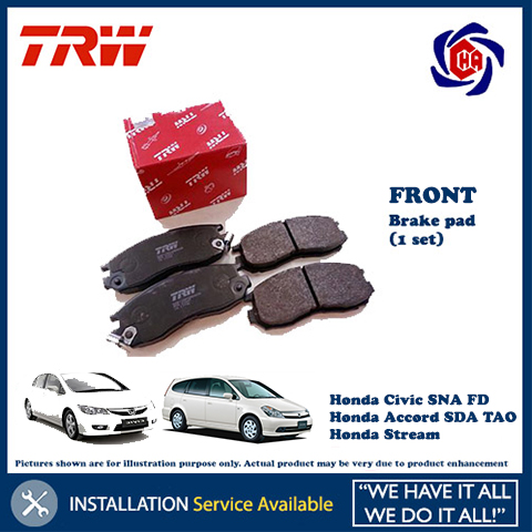 Honda Civic SNA FD Accord SDA TAO Stream FRONT TRW Brake Pad (1set)