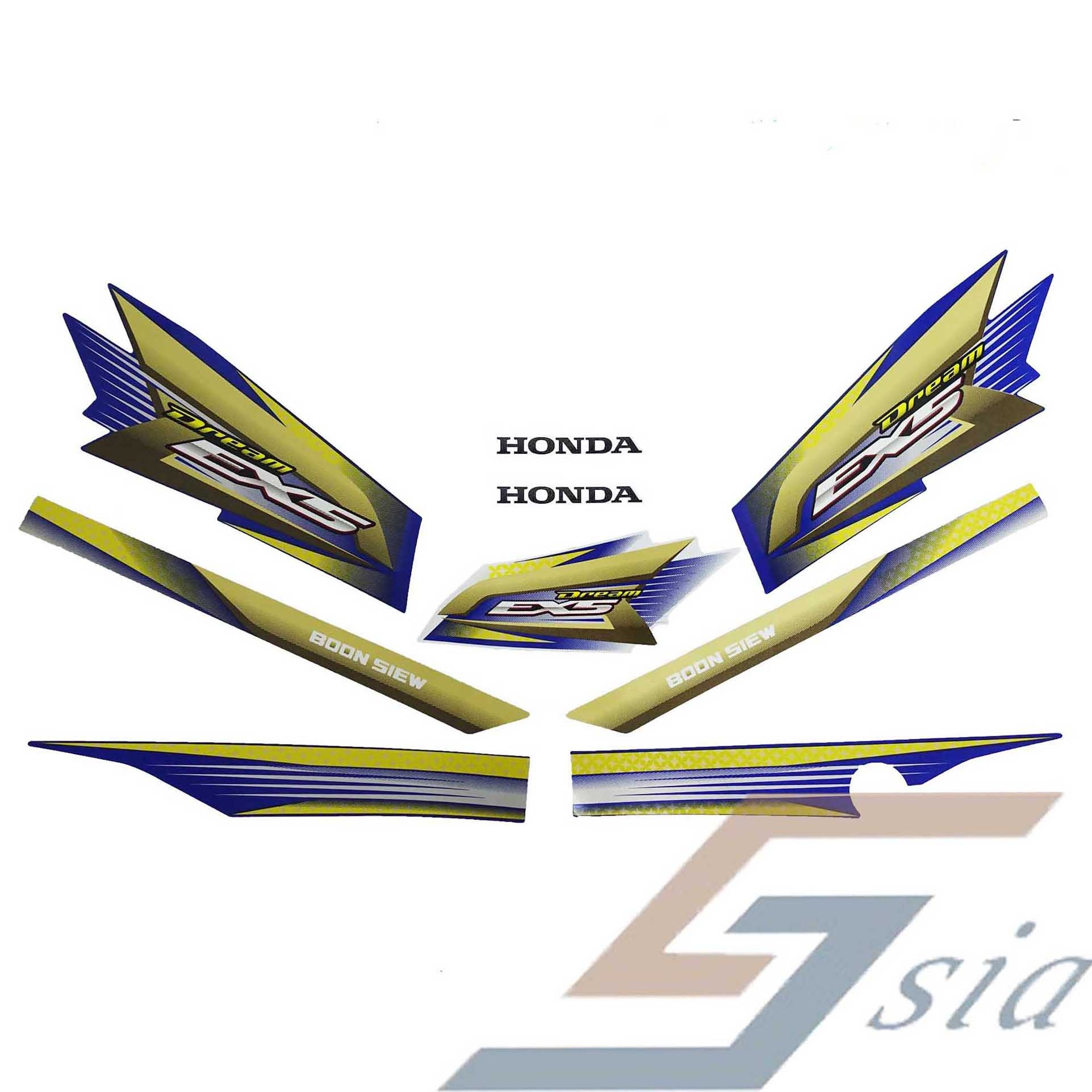 Honda ex5 body stripe stickers vital blue metallic